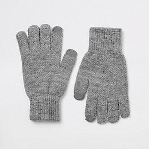 Dark grey ribbed cuff gloves
