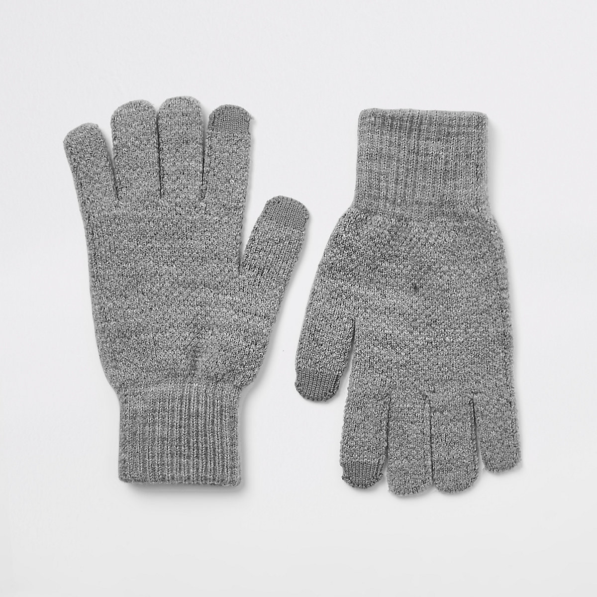 Dark grey ribbed cuff gloves