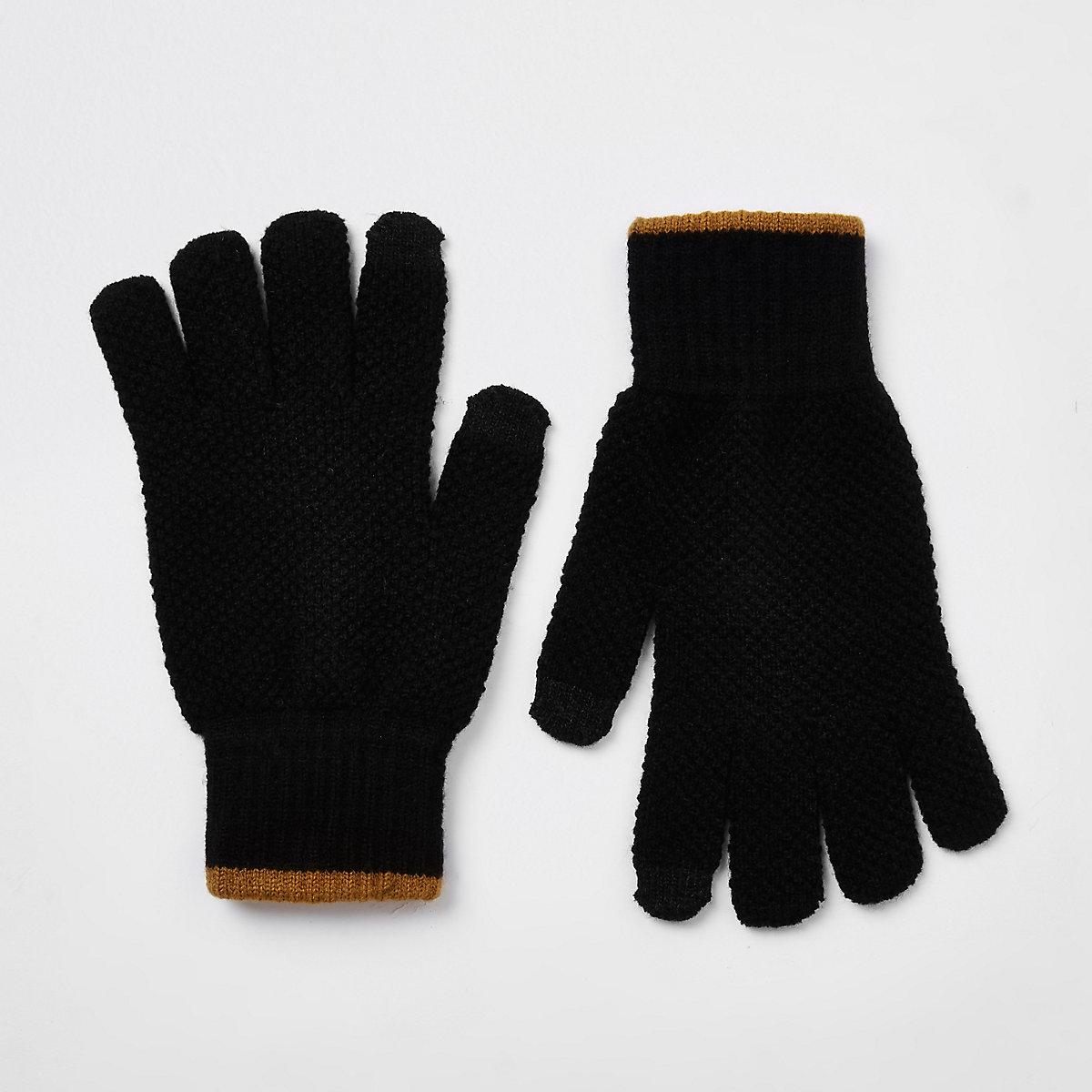 Gants noirs à poignets rayés