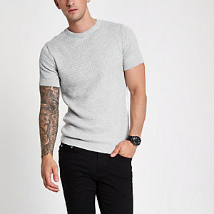 Grey marl cable knit muscle fit tape T-shirt