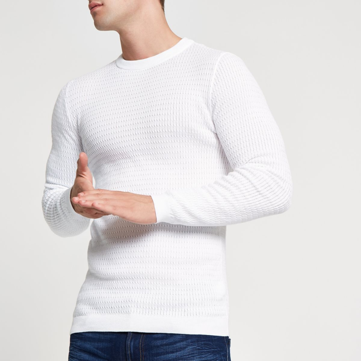 White cable knit muscle fit jumper