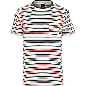 Big and Tall white stripe crew neck T-shirt