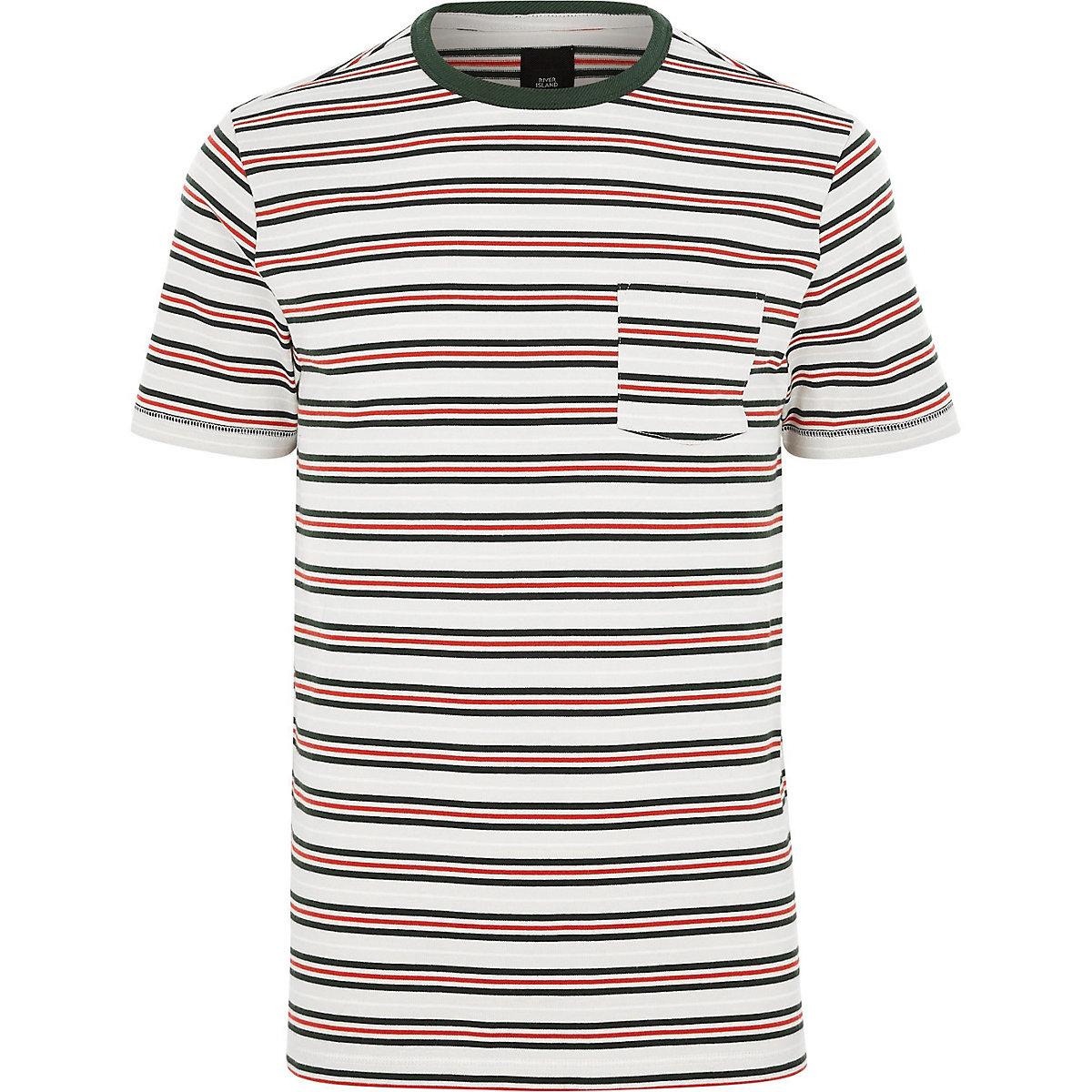 Big and Tall white stripe crew neck T-shirt