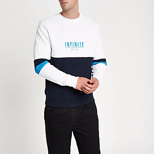 Sweat blanc à imprimé « N.Y.C » effet colour block