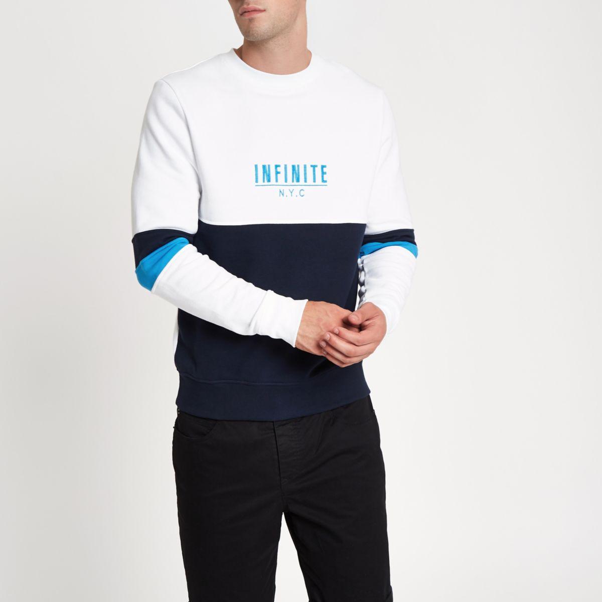 White 'N.Y.C' block print sweatshirt