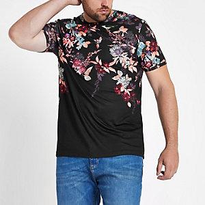 Big and Tall - Zwart slim-fit T-shirt met oriëntaalse print