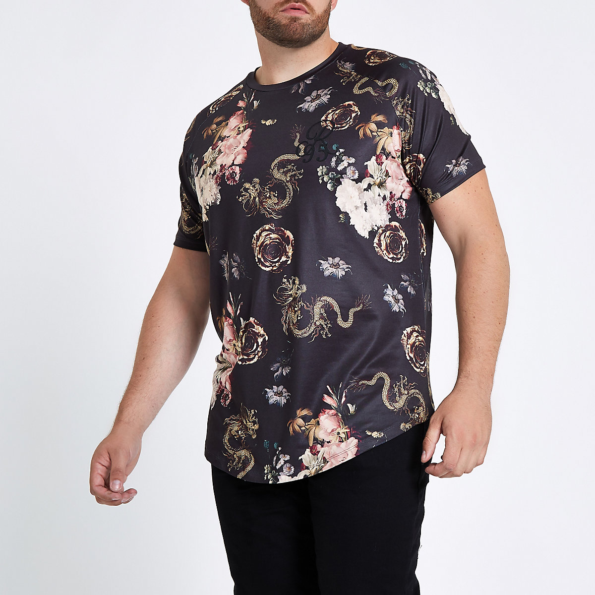 Big and Tall black snake print T-shirt