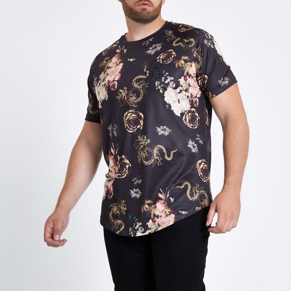 Big and Tall black snake print T-shirt