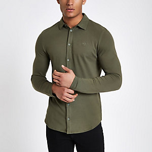 Khaki muscle fit button-down shirt