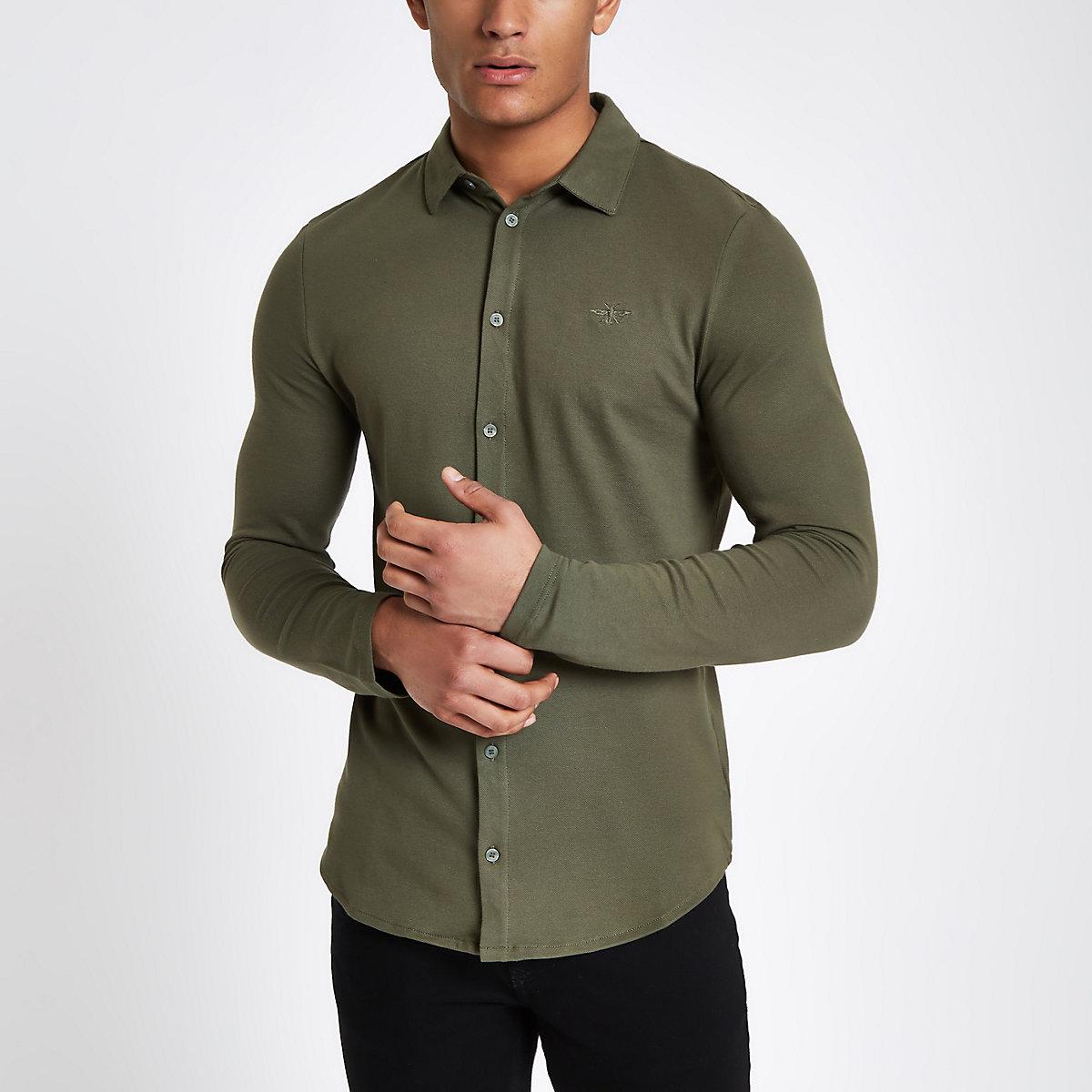 Khaki muscle fit button-down shirt