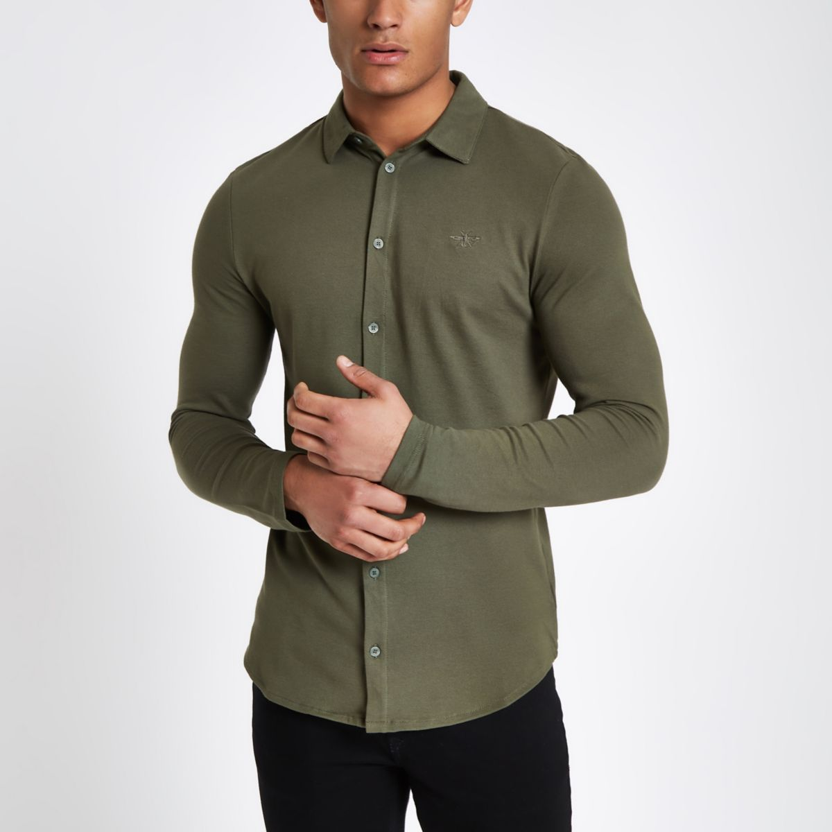 Khaki muscle fit button up shirt