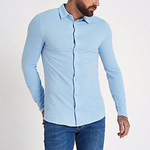 Blue muscle fit long sleeve button up shirt