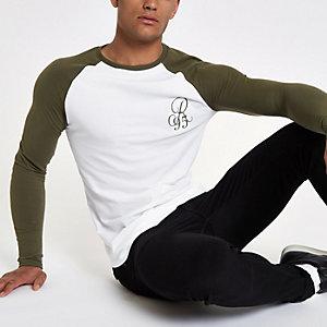 Kaki aansluitend T-shirt met raglanmouwen en borduursel