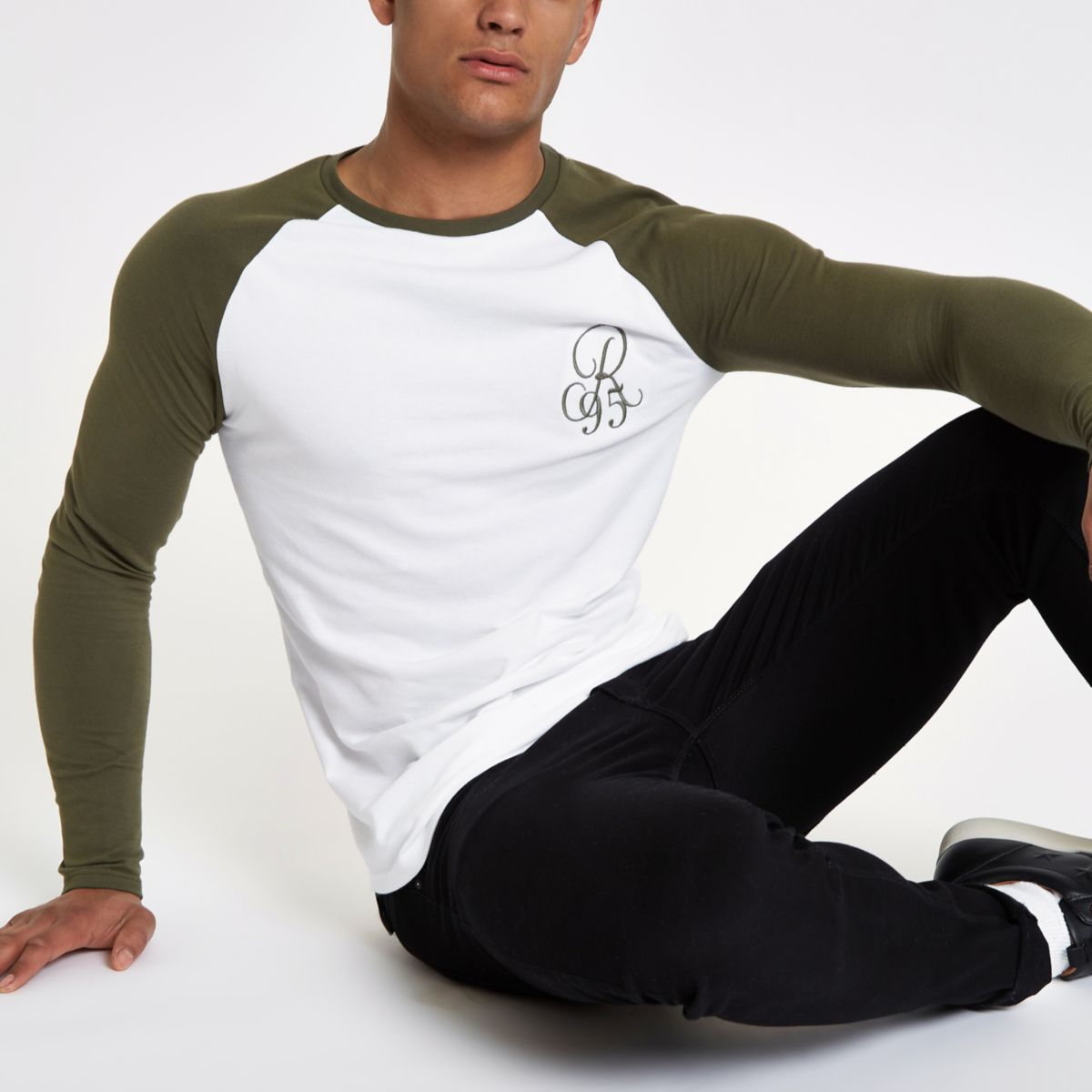Khaki raglan embroidered muscle T-shirt
