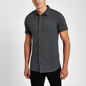 Grey muscle fit button up shirt