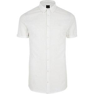 Weißes Muscle Fit Hemd mit Knöpfen