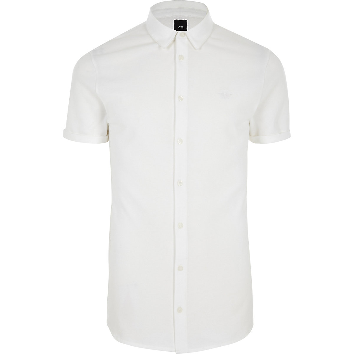 White muscle fit button-down shirt