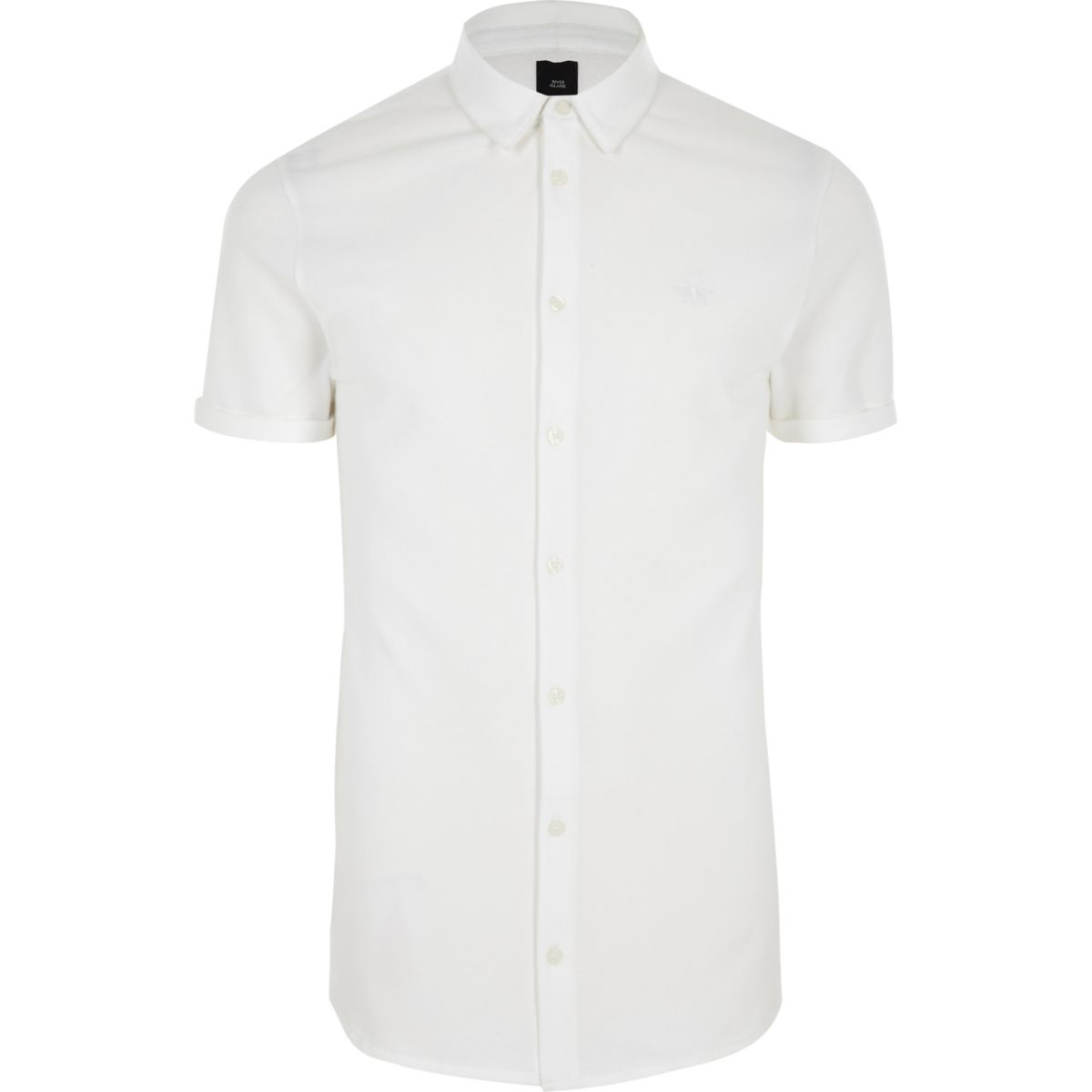 White muscle fit button up shirt