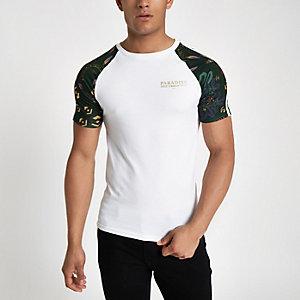 Wit slim-fit T-shirt met 'Paradise'-print en raglanmouwen