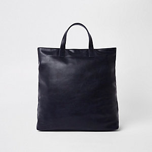 Marineblaue Tote Bag aus Lederimitat
