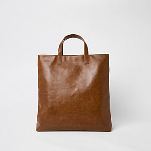 Brown faux leather tote bag