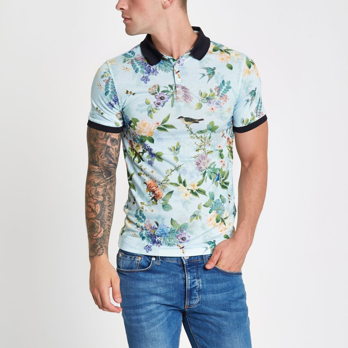 Light green floral muscle fit polo shirt