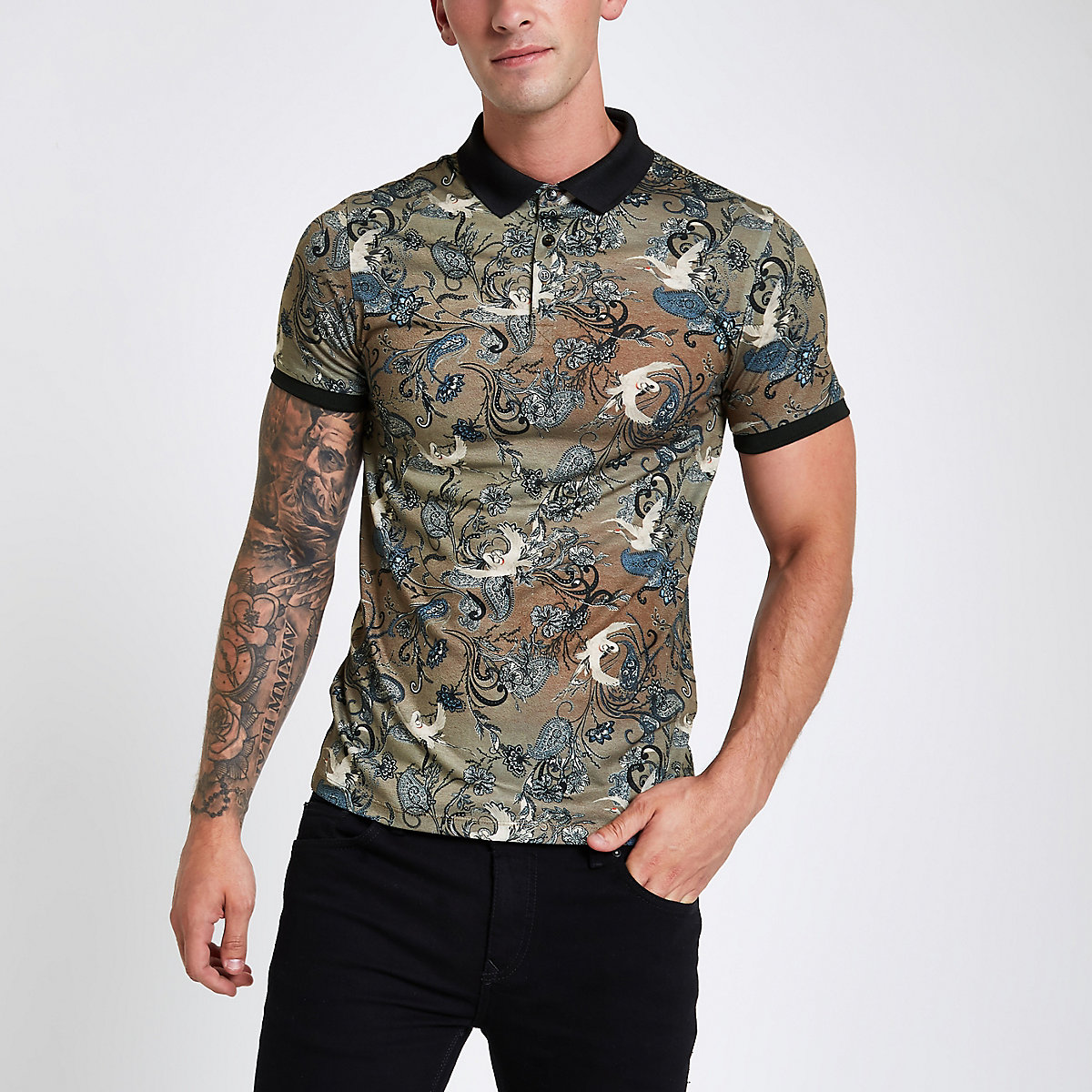 Brown crane print muscle fit polo shirt
