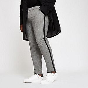 Big and Tall grey check skinny fit chinos