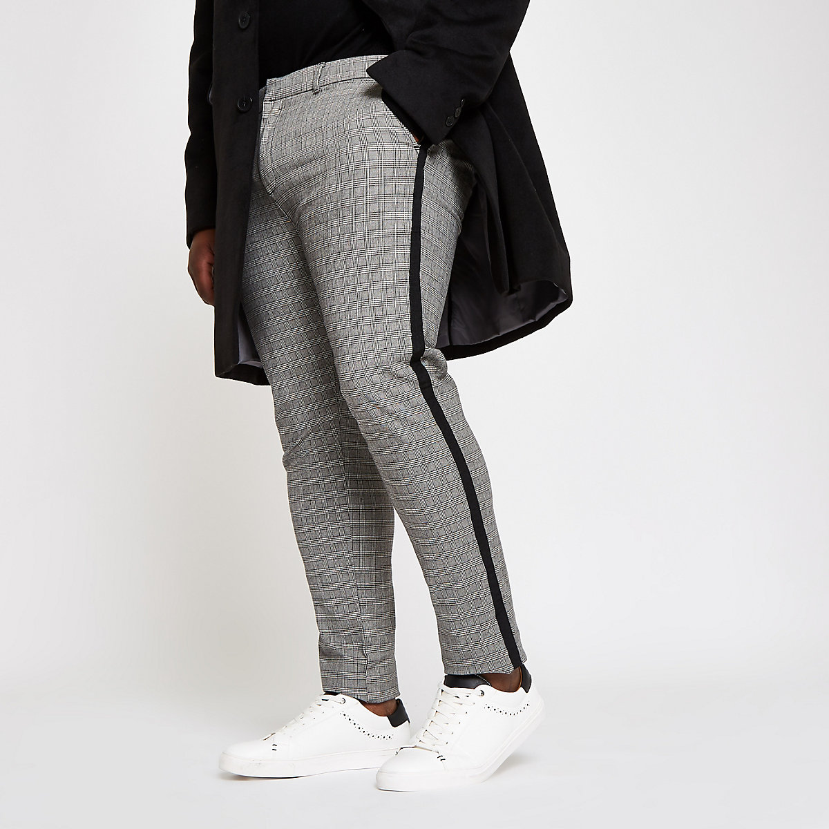 Big and Tall grey check skinny fit chinos