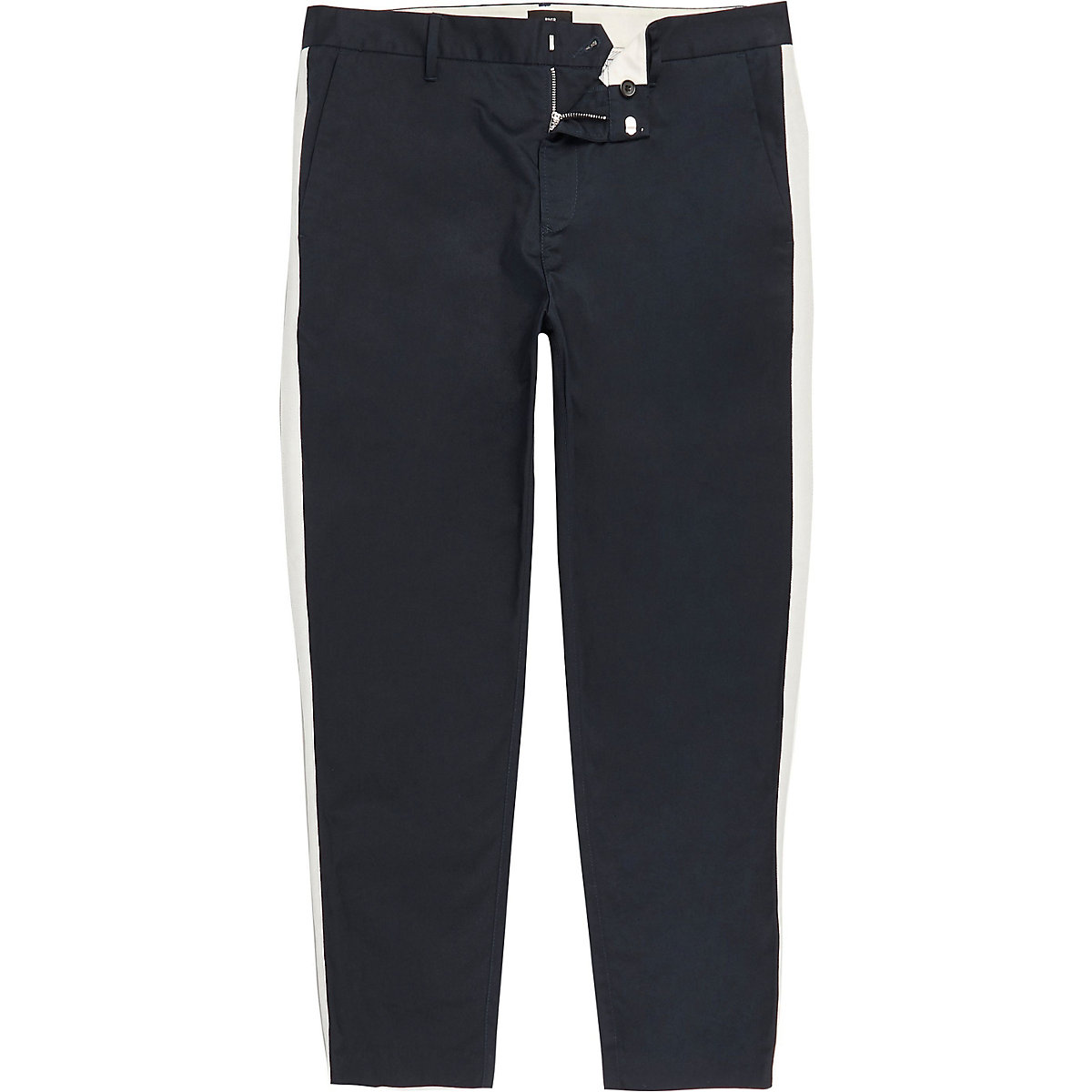 Big and Tall navy skinny taped trousers