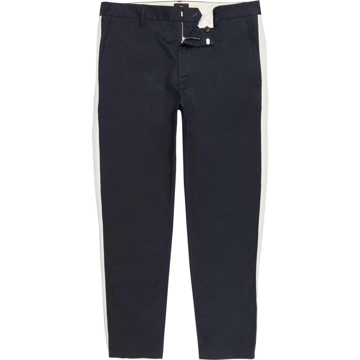 Big & Tall navy skinny taped trousers