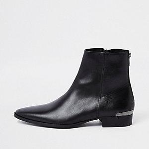RI 30 – Schwarze Chelsea-Stiefel aus Leder