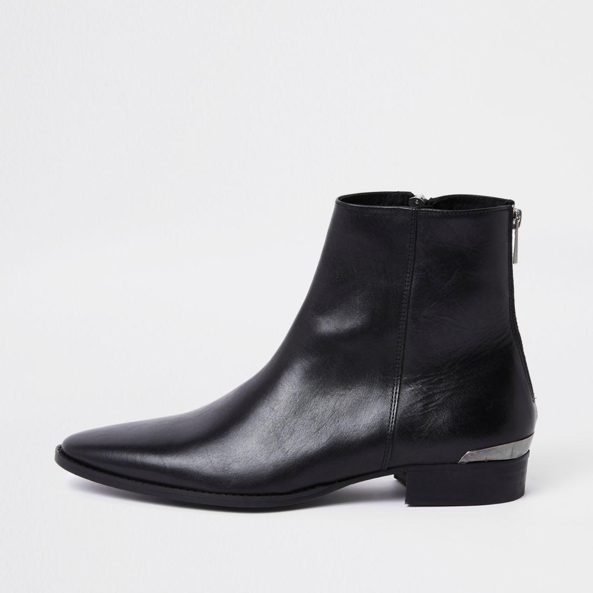 RI 30 black leather chelsea boots