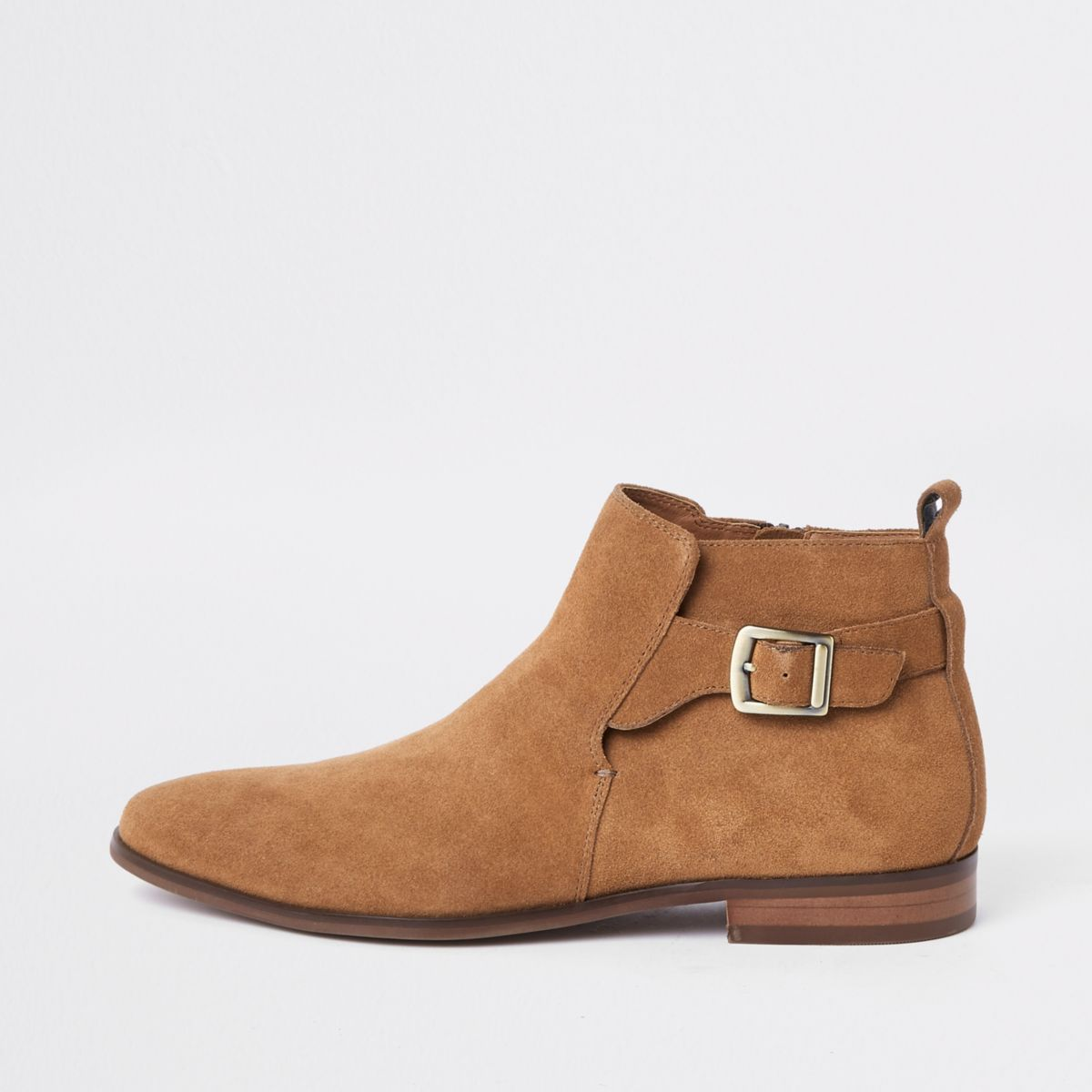 Tan suede buckle chelsea boots