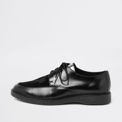 Ri 30 Black Leather Creeper Shoes by River Island