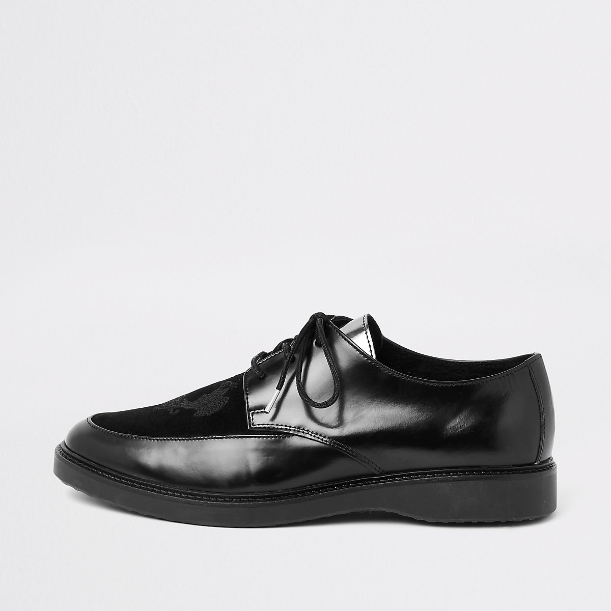 RI 30 black leather creeper shoes