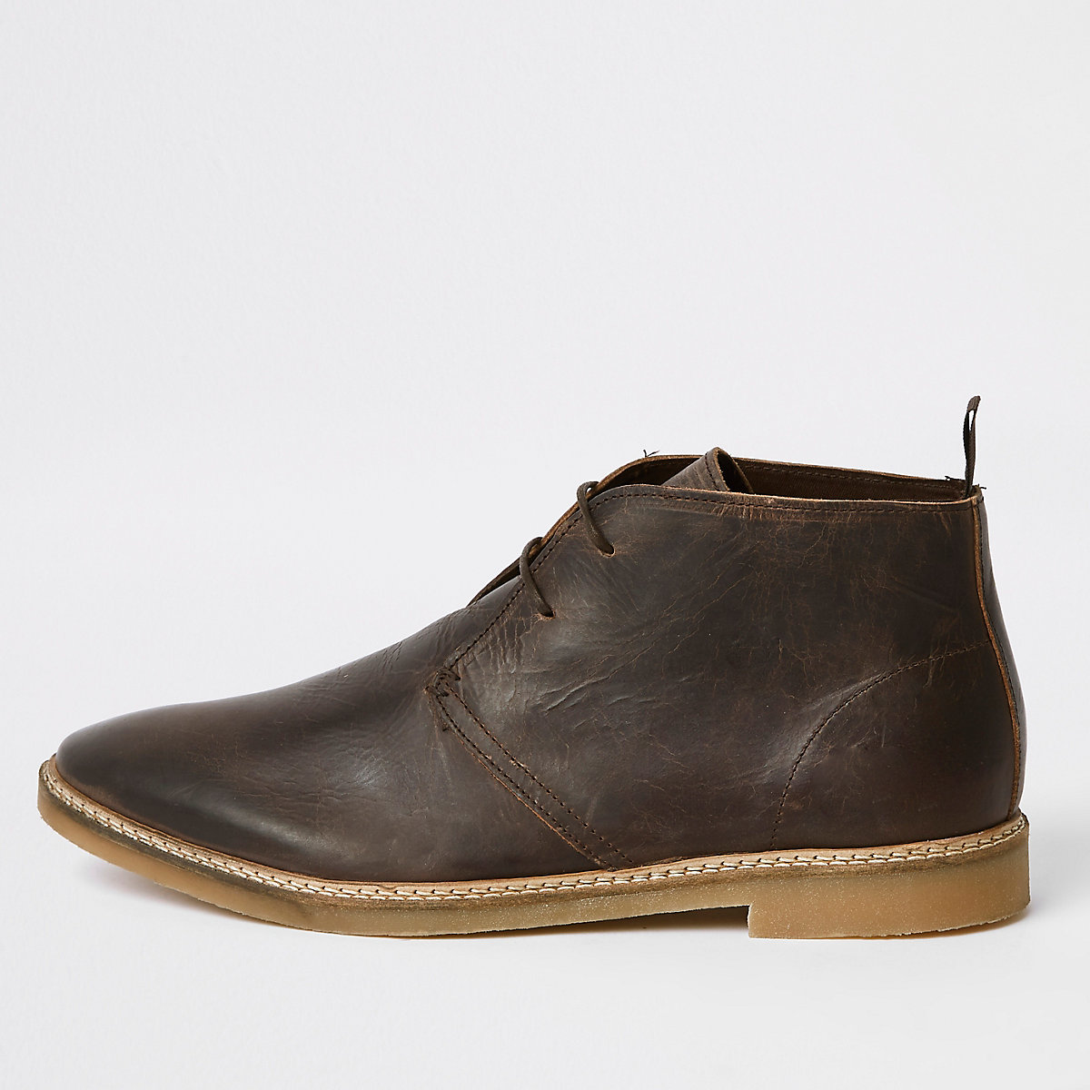 Dark brown leather eyelet desert boots