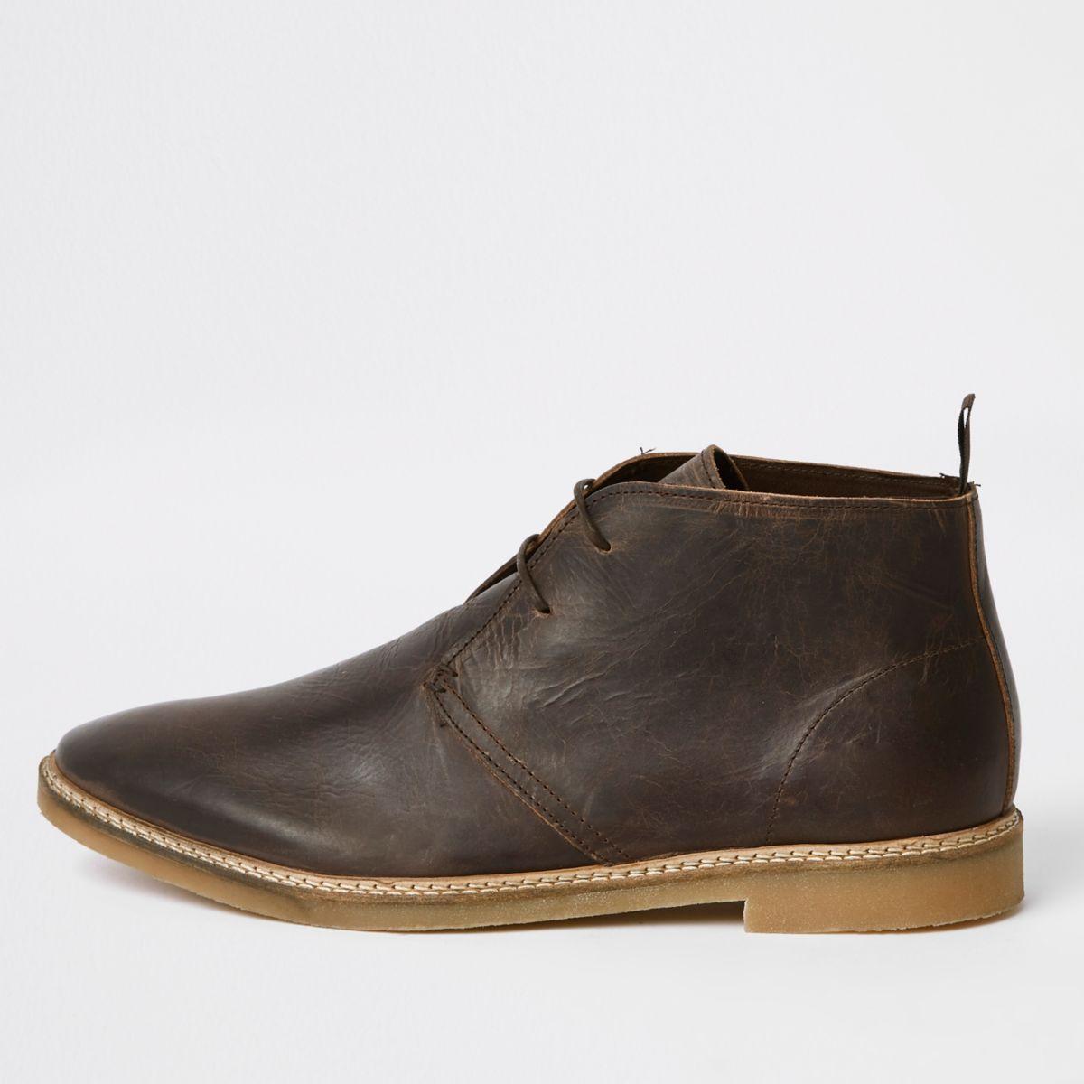 Dark brown leather eyelet desert boots
