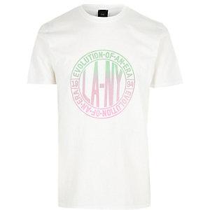 """Big & Tall – Weißes T-Shirt mit """"LA NY""""-Print"""