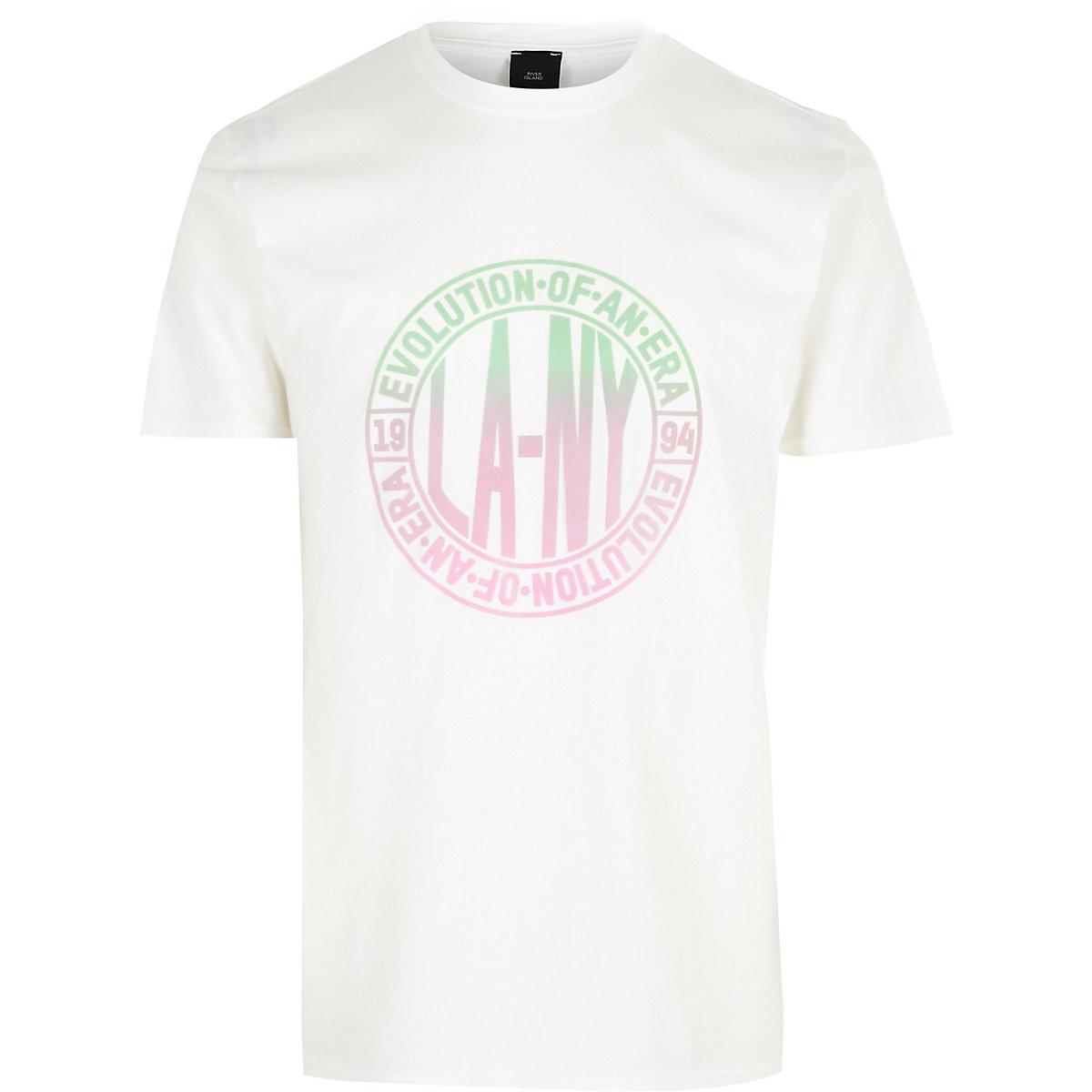 Big and Tall – T-shirt imprimé « LA NY » blanc