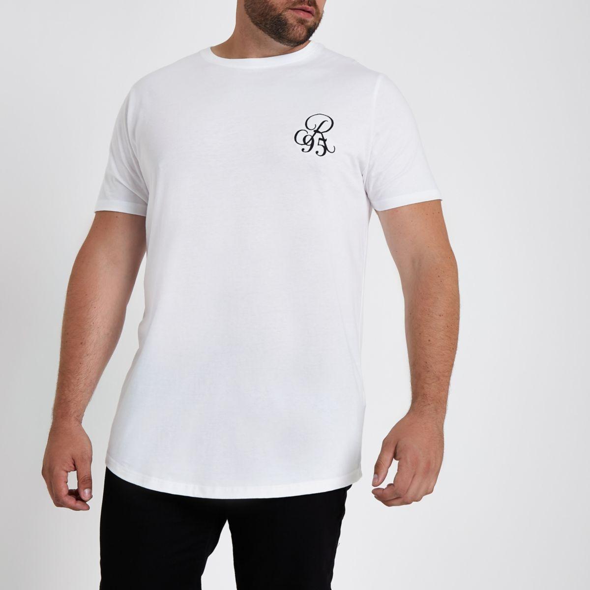 Big & Tall white muscle fit curve hem T-shirt