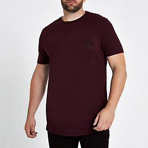 Big and Tall red muscle fit curve hem T-shirt