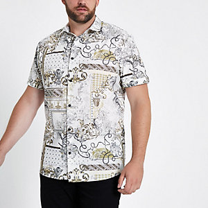 Cheap Store Cheap And Nice Mens Cream baroque short sleeve slim fit shirt River Island Cheap Outlet Store vQ8EUxQqm