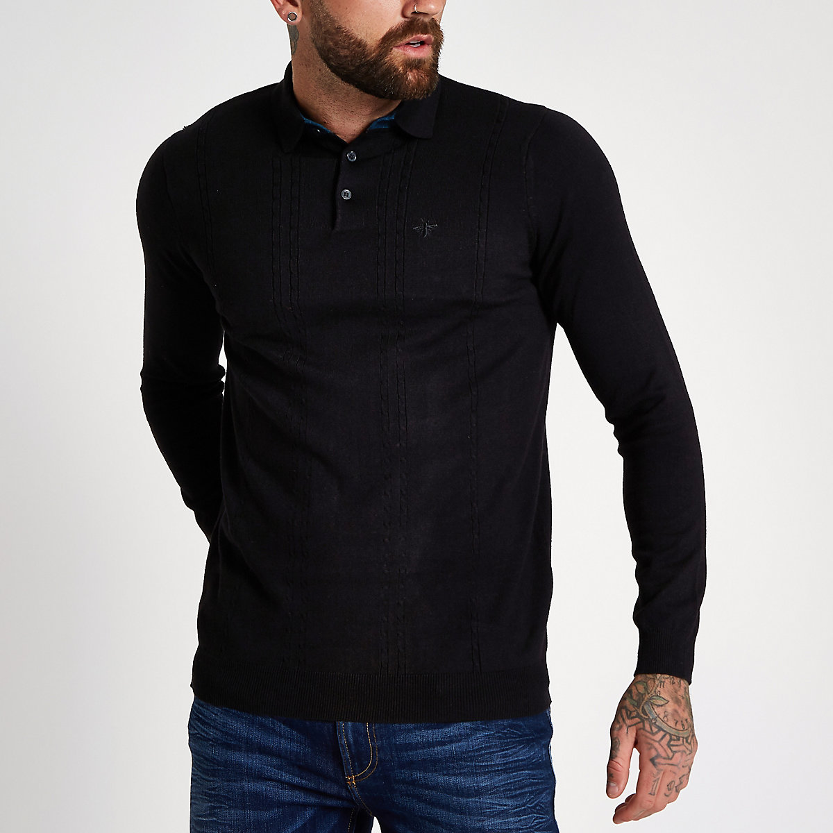 Black slim fit long sleeve polo shirt