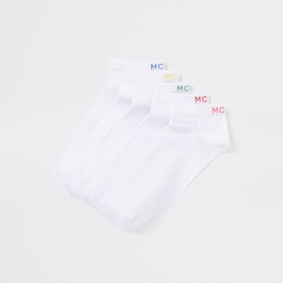 White 'MCMLX' trainer socks multipack
