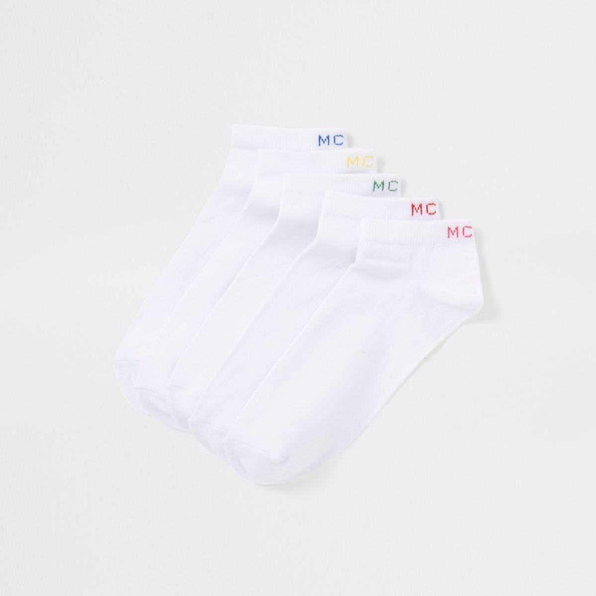 White 'MCMLX' sneaker socks multipack