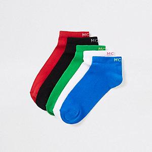 Blue 'MCMLX' trainer socks multipack