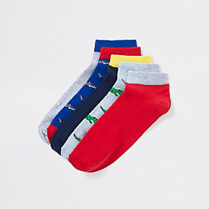 Red novelty trainer sock multipack