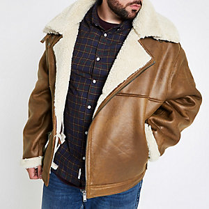 Big & Tall tan fleece lined biker jacket