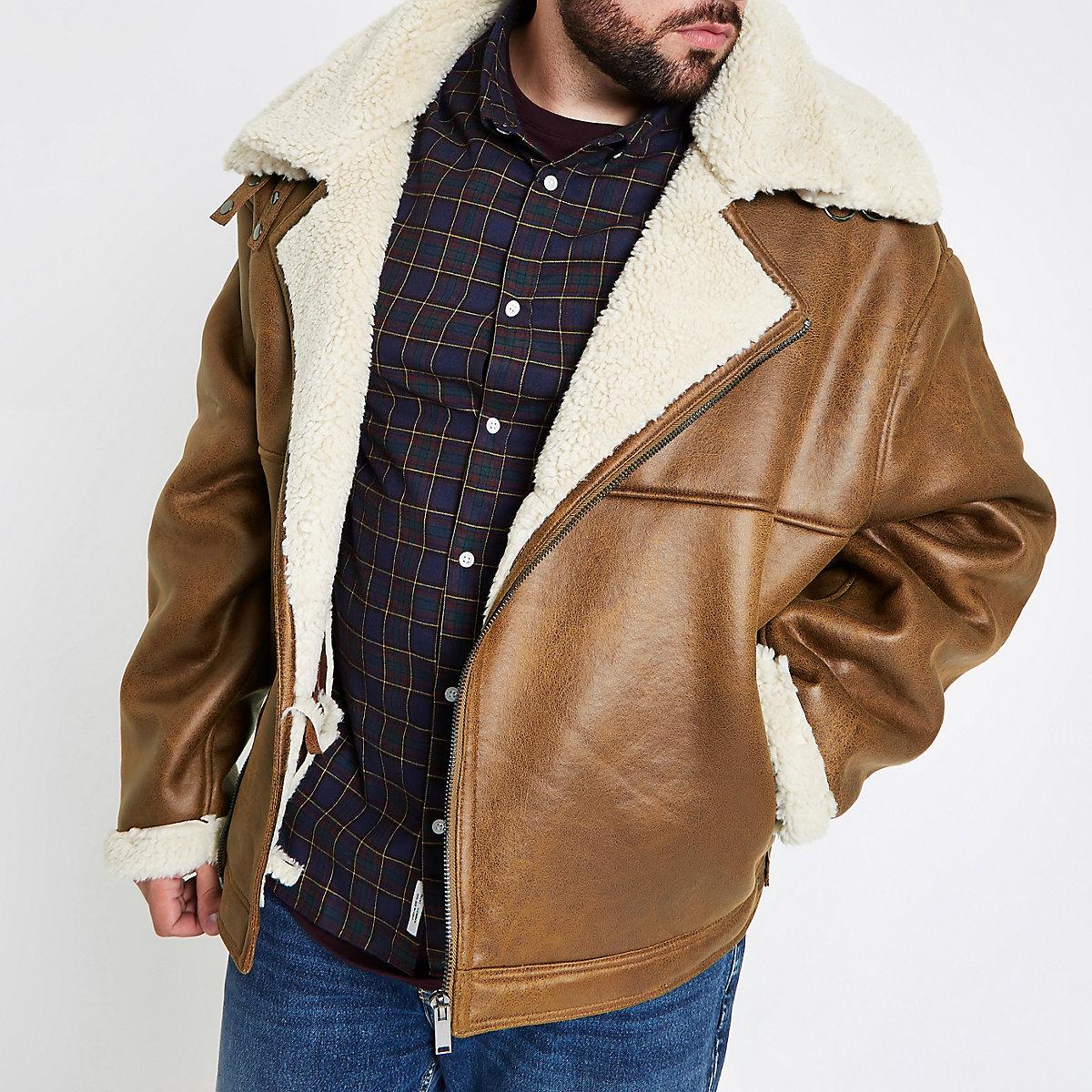 Big and Tall tan fleece lined biker jacket